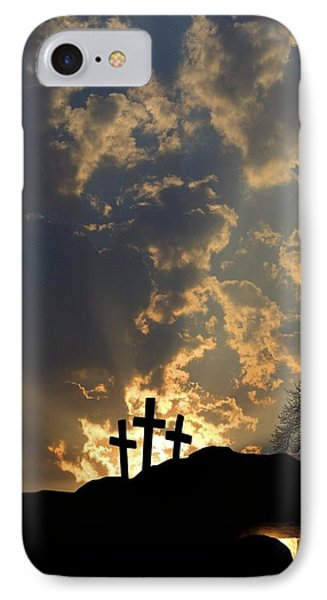 Empty Tomb And Three Crosses IPhone Case by Colette Scharf