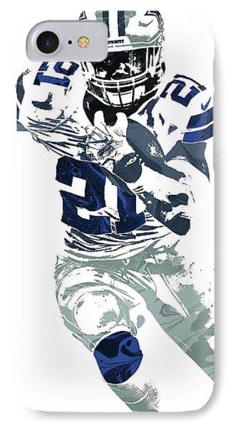 Ezekiel Elliott Dallas Cowboys Pixel Art 6 IPhone Case by Joe Hamilton