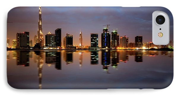 Fascinating Reflection Of Tallest Skyscrapers In Bussiness Bay D IPhone Case