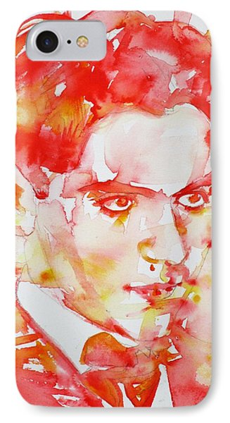 IPhone Case featuring the painting Federico Garcia Lorca - Watercolor Portrait by Fabrizio Cassetta