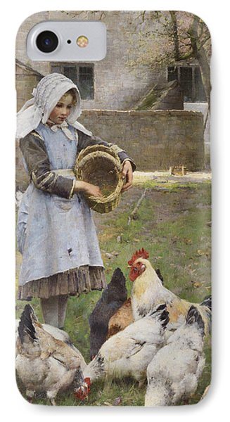 Feeding The Chickens IPhone Case by Walter Osborne