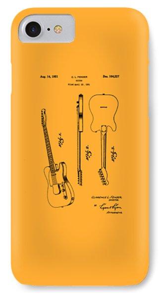 Fender 1951 Electric Guitar Patent Art - B  IPhone Case by Barry Jones