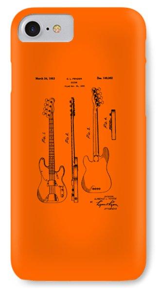 Fender Bass Guitar Patent-1953 IPhone Case by Barry Jones