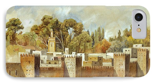 Fes Morocco Orientalist Painting IPhone Case by Juan  Bosco