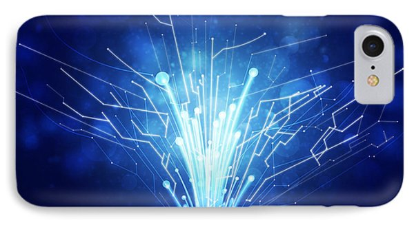 Fiber Optics And Circuit Board IPhone Case by Setsiri Silapasuwanchai