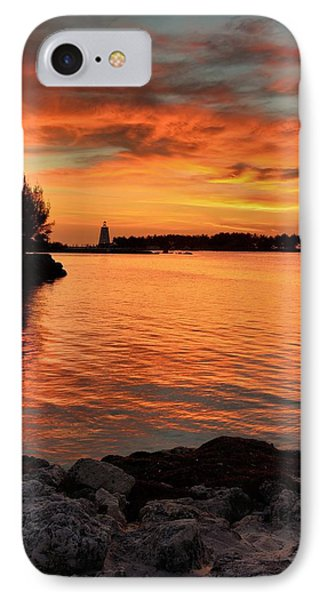 IPhone Case featuring the photograph Fiery Sunset Reflections by Stephen  Vecchiotti