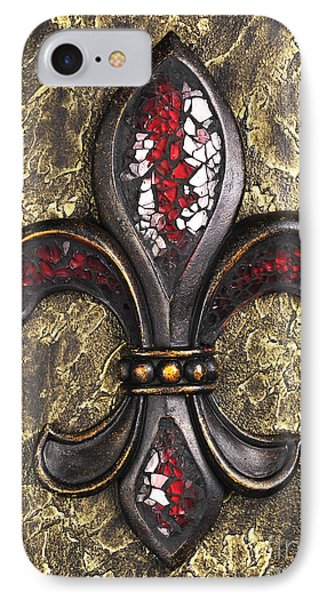 red mosaic Fleur-di-lis IPhone Case by Tony Cordoza