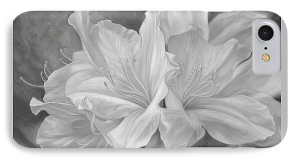 Fleurs Blanches - Black And White IPhone Case