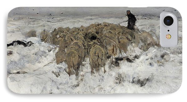 Flock Of Sheep With Shepherd In The Snow IPhone Case