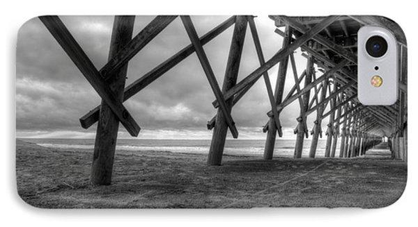 Folly Beach Pier Black And White IPhone Case by Dustin K Ryan