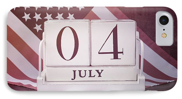 Fourth Of July Vintage Wood Calendar With Flag Background.  IPhone Case by Milleflore Images