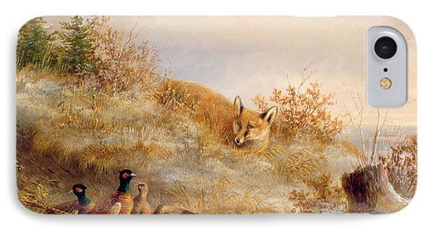 Pheasant iPhone 7 Case - Fox And Pheasants In Winter by Anonymous