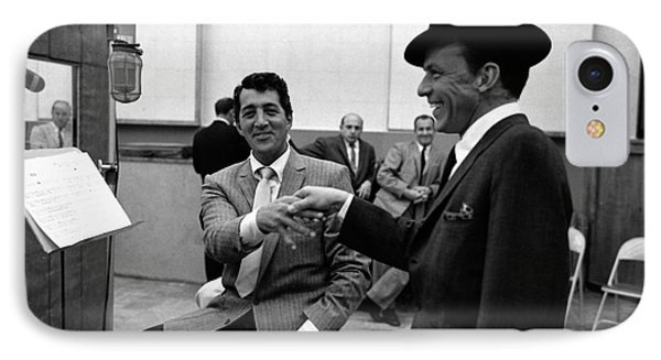 Frank Sinatra And Dean Martin At Capitol Records Studios 1958. IPhone Case by The Titanic Project