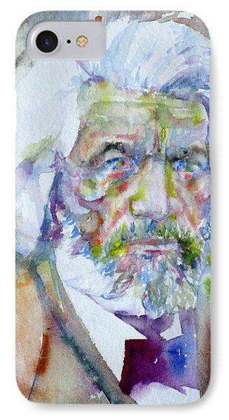 Frederick Douglass - Watercolor Portrait IPhone Case by Fabrizio Cassetta