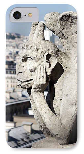 Gargoyle Guarding The Notre Dame Basilica In Paris Phone Case by Pierre Leclerc Photography