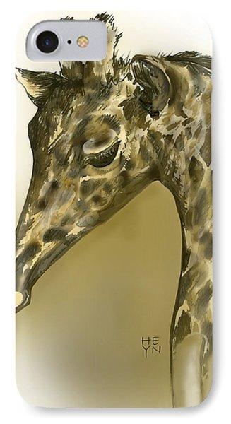Giraffe Contemplation IPhone Case by Shirley Heyn