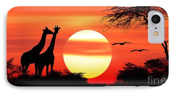 Giraffes At Sunset IPhone Case