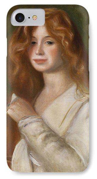 Girl Combing Her Hair IPhone Case by Pierre Auguste Renoir