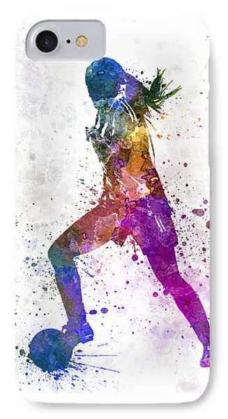 Girl Playing Soccer Football Player Silhouette IPhone Case by Pablo Romero