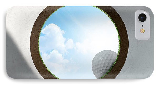 Golf Hole With Ball Approaching IPhone Case