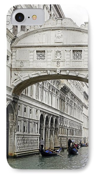 Gondolas Going Under The Bridge Of Sighs In Venice Italy IPhone Case by Richard Rosenshein