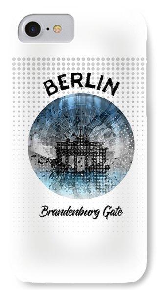 Graphic Art Berlin Brandenburg Gate IPhone Case by Melanie Viola