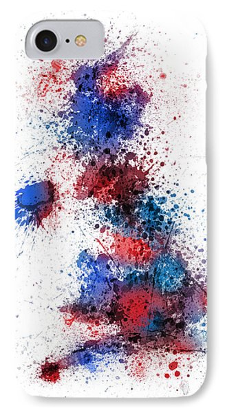 Great Britain Uk Map Paint Splashes IPhone Case by Michael Tompsett