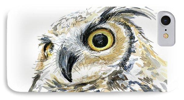 Great Horned Owl Watercolor IPhone Case by Olga Shvartsur