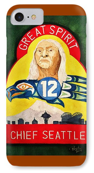 Great Spirit Seattle 12s IPhone Case by Rand Swift