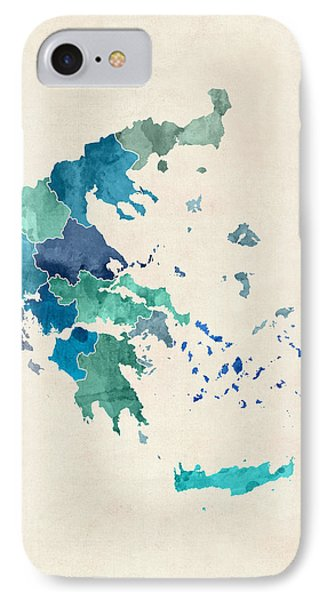 Greece Watercolor Map IPhone Case