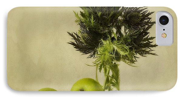 Apple iPhone 7 Case - Green Apples And Blue Thistles by Priska Wettstein