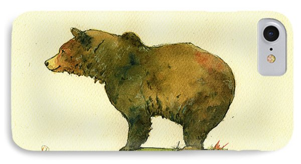 Grizzly Bear Watercolor Painting IPhone 7 Case