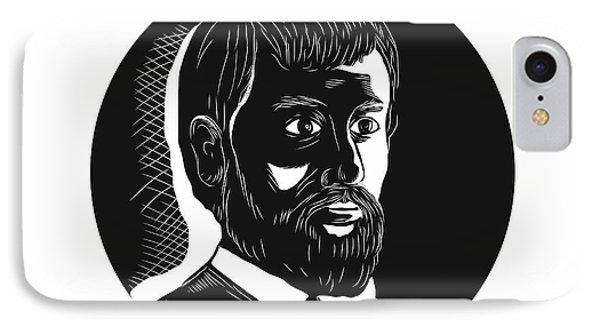 Hernando De Soto Explorer Circle Woodcut IPhone Case