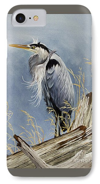IPhone Case featuring the painting Herons Windswept Shore by James Williamson