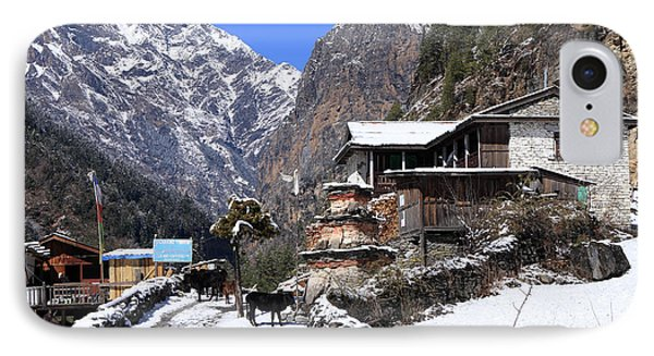 Himalayan Mountain Village IPhone Case by Aidan Moran