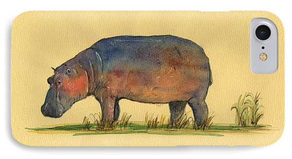 Hippo Watercolor Painting  IPhone 7 Case by Juan  Bosco