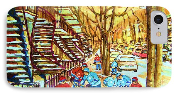 Hockey Game Near Winding Staircases IPhone Case by Carole Spandau