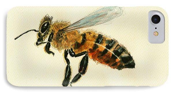 Honey Bee Watercolor Painting IPhone 7 Case by Juan  Bosco