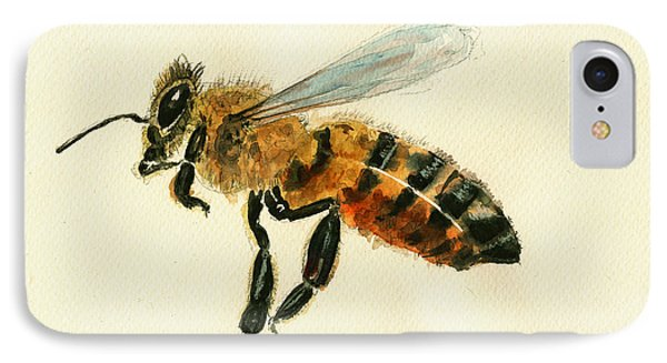 Honey Bee Watercolor Painting IPhone Case by Juan  Bosco