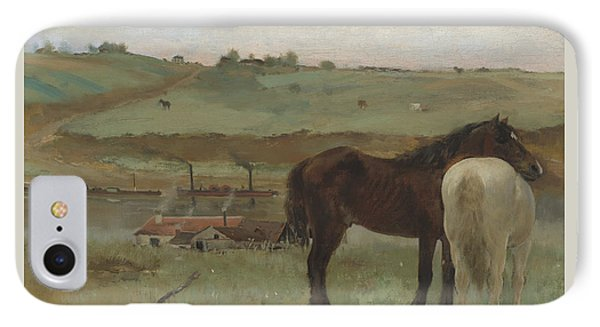 Horses In A Meadow IPhone Case by Edgar Degas