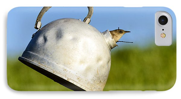House Wren In Tea Kettle Home IPhone Case by Thomas R Fletcher