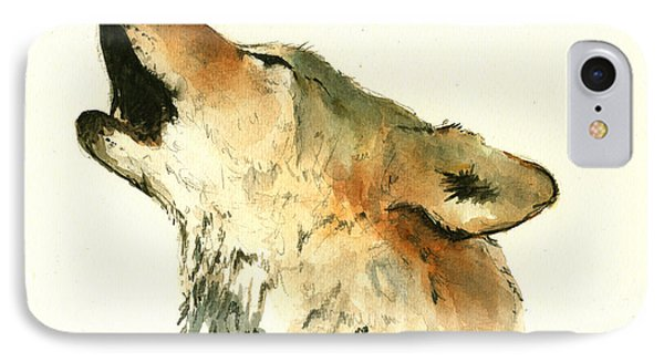 Howling Wolf IPhone Case by Juan  Bosco