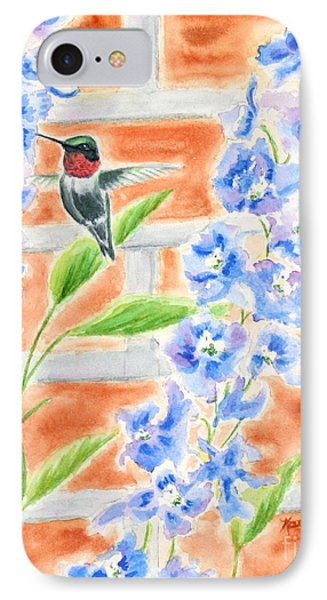 Hummer And Delphiniums Phone Case by Kathryn Duncan