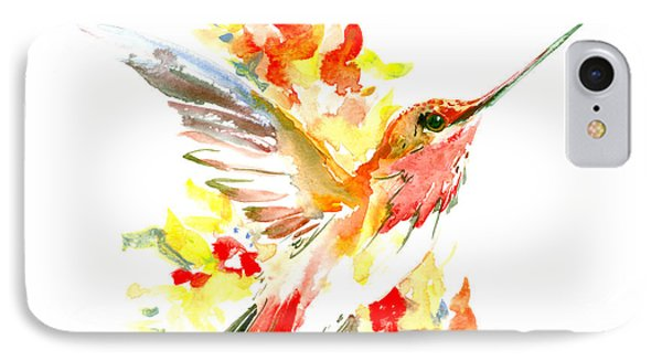 Hummingbird And Flame Colored Flowers IPhone Case by Suren Nersisyan