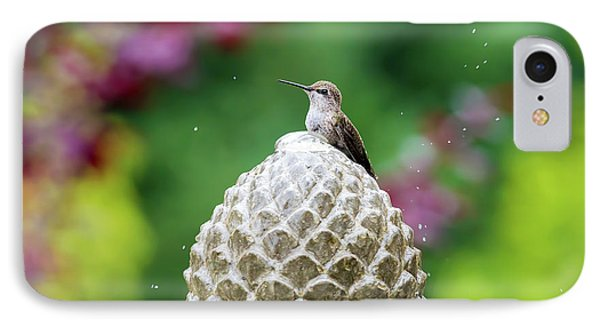 Hummingbird On Garden Water Fountain Phone Case by David Gn
