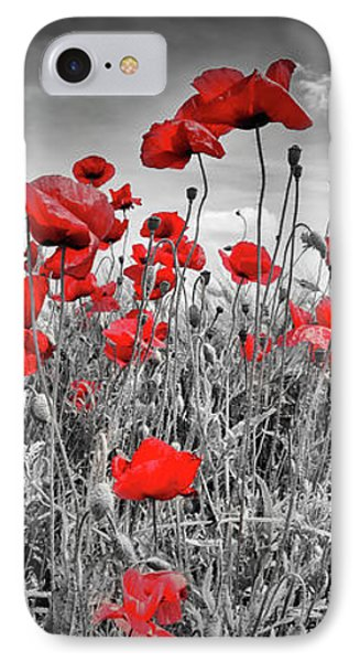 Idyllic Field Of Poppies Panoramic Colorkey IPhone Case by Melanie Viola