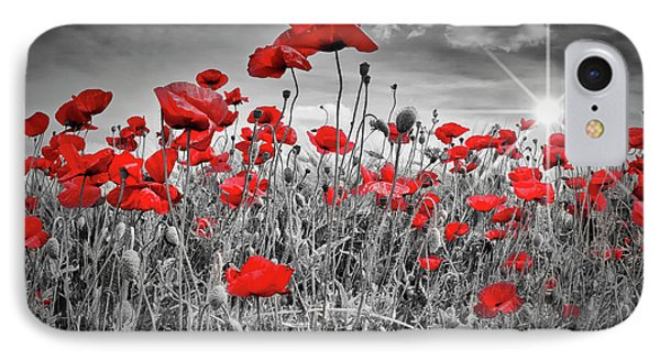Idyllic Field Of Poppies With Sun IPhone Case by Melanie Viola