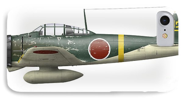 Illustration Of A Mitsubishi A6m2 Zero Phone Case by Inkworm