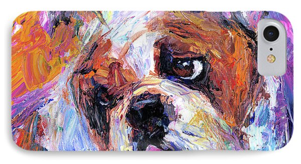 Impressionistic Bulldog Painting  IPhone 7 Case by Svetlana Novikova