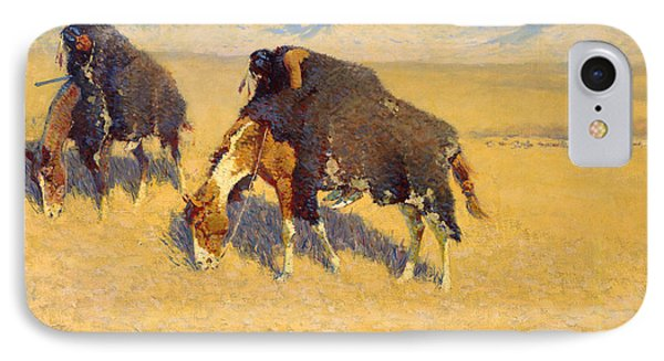 Indians Simulating Buffalo IPhone Case by Frederic Remington